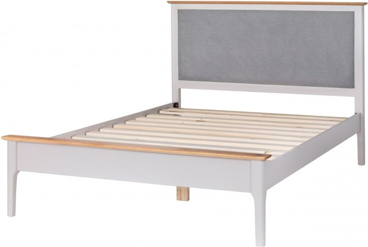 Photo of Diego oak and grey double bed frame with fabric headboard