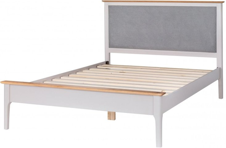 Photo of Diego oak and grey super king bed frame with fabric headboard