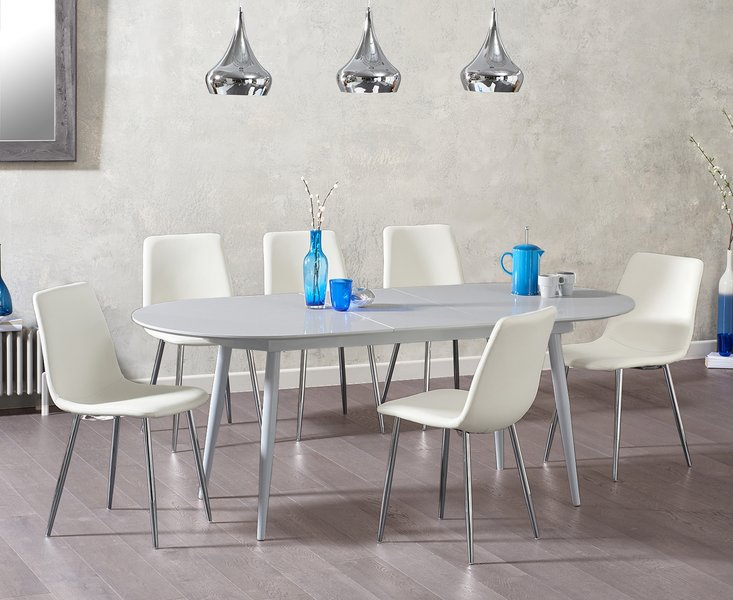 Photo of Olivia extending light grey high gloss dining table with hamburg faux leather chairs