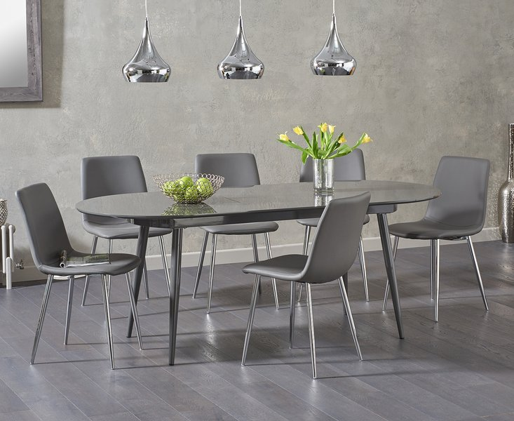 Photo of Olivia extending dark grey high gloss dining table with hamburg faux leather chairs