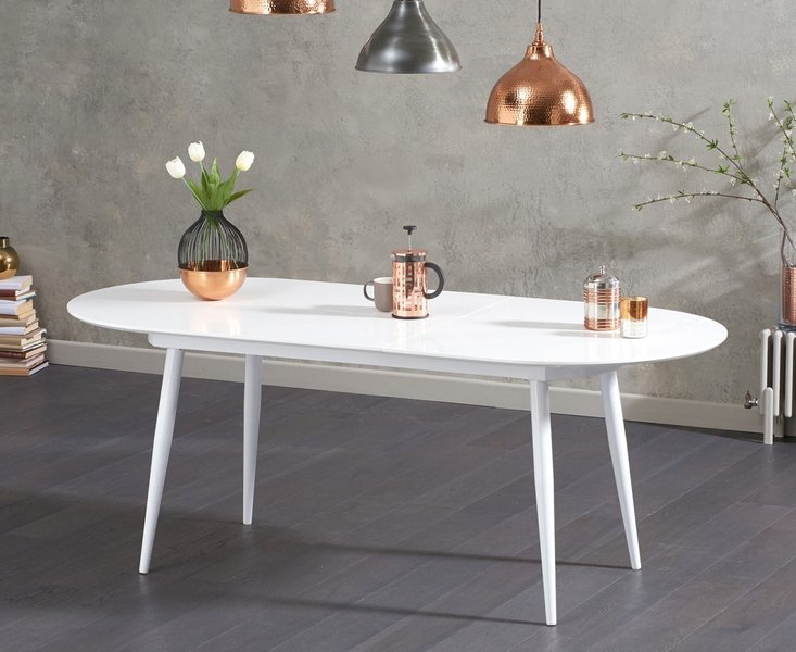 Photo of Olivia extending white high gloss dining table