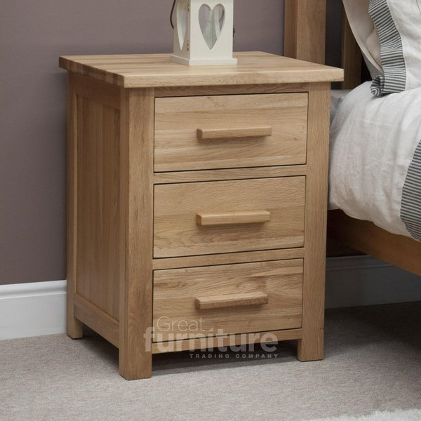 Photo of Opus oak 3 drawer bedside cabinet