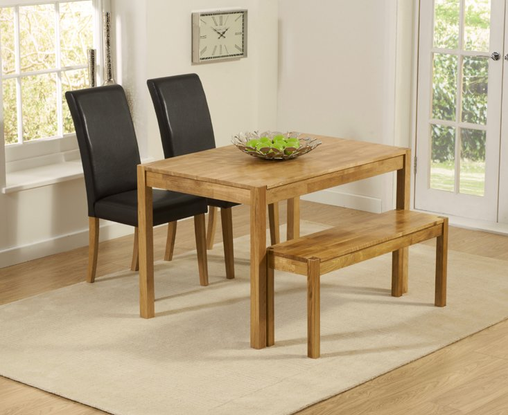 Photo of Oxford 120cm solid oak dining table with benches and albany chairs