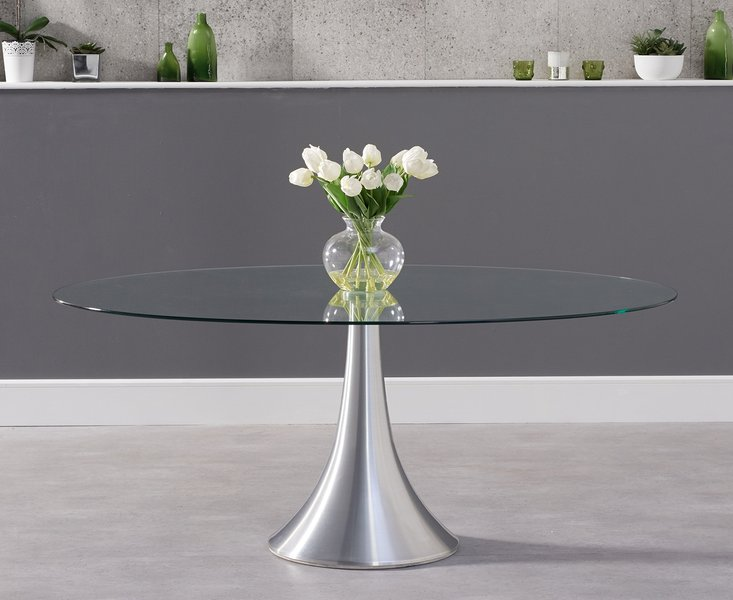 Photo of Petra 180cm oval glass dining table