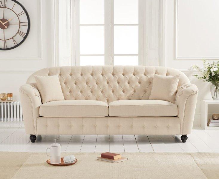 Photo of Columbus beige linen 3 seater sofa