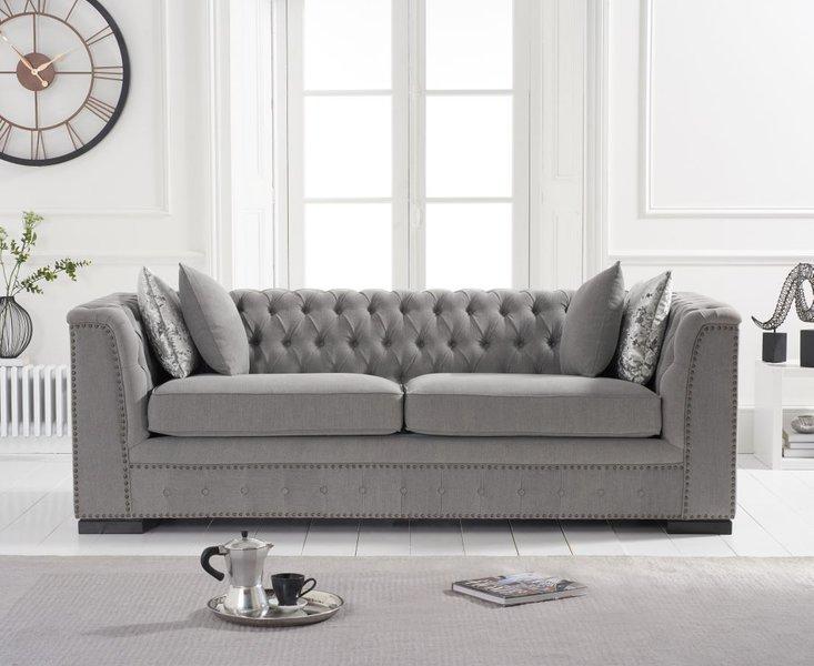 Photo of Pedro grey linen 3 seater sofa