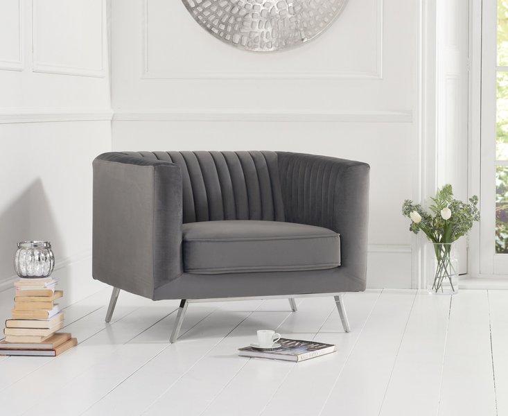 Photo of Darbie grey velvet armchair