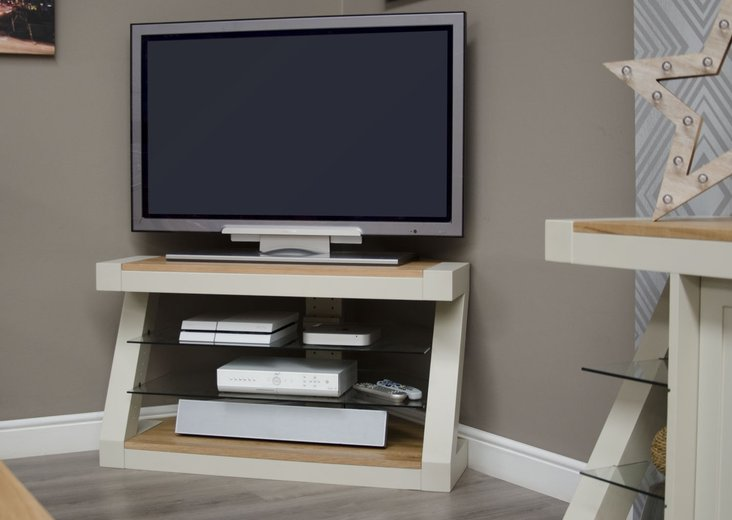 Photo of Z painted corner tv unit with natural oak top
