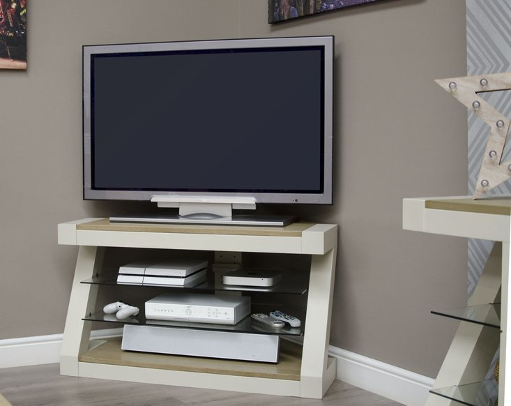 Photo of Z painted corner tv unit with smoked oak top