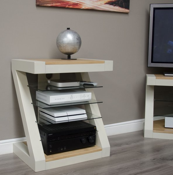 Photo of Z painted hifi cabinet with natural oak top