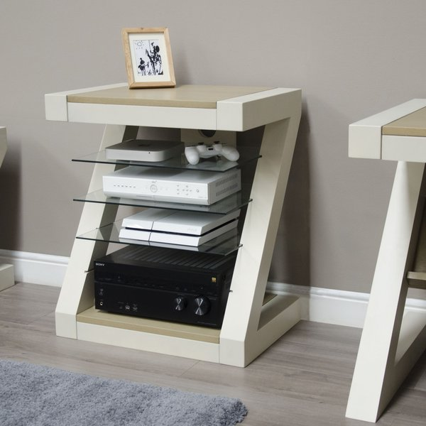 Photo of Z painted hifi cabinet with smoked oak top