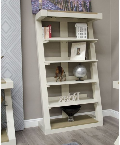 Photo of Z painted large bookcase with smoked oak top