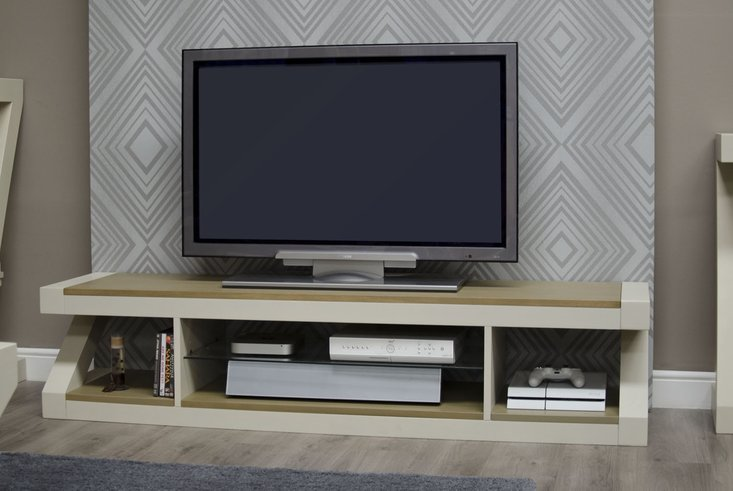 Photo of Z painted large plasma tv unit with smoked oak top