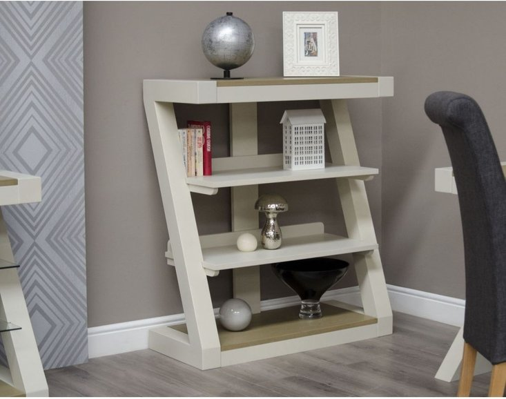 Photo of Z painted small bookcase with smoked oak top