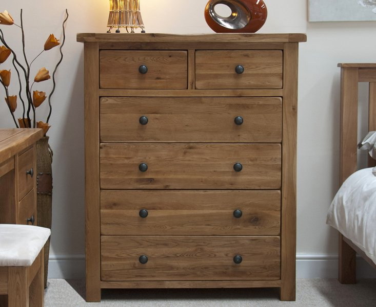Photo of Rustic oak 2 over 4 drawer chest