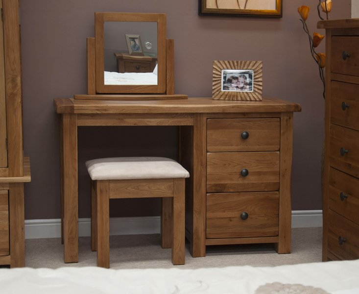Photo of Rustic oak dressing table with stool
