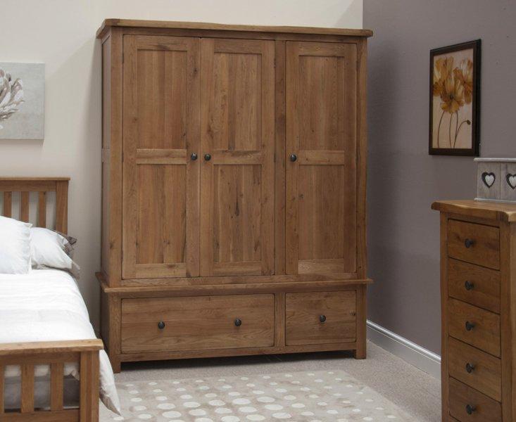 Photo of Rustic oak triple wardrobe
