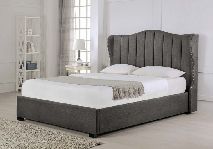 Photo of Sherwood grey fabric ottoman king size bed