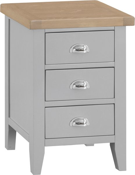 Photo of William oak and grey large 3 drawer bedside table