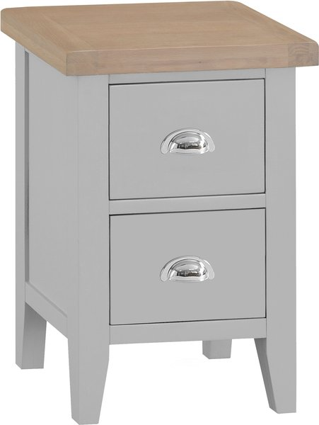 Photo of William oak and grey 2 drawer bedside table