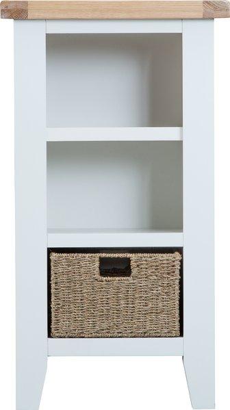 Photo of Ellen oak and white narrow bookcase