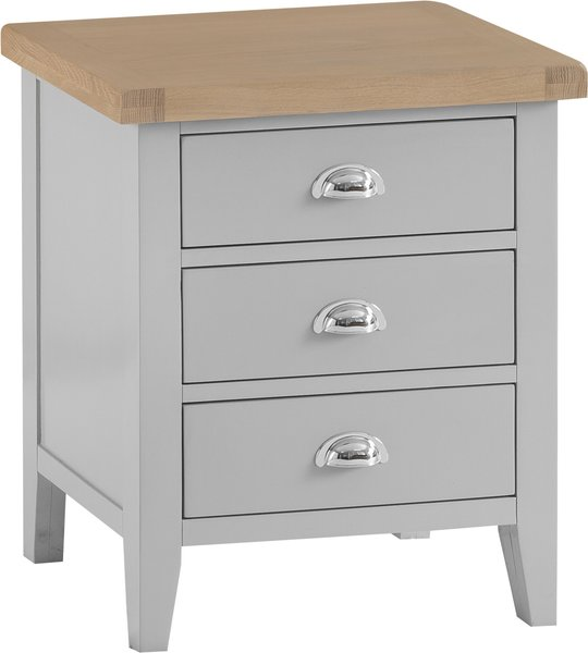 Photo of William oak and grey extra large 3 drawer bedside table