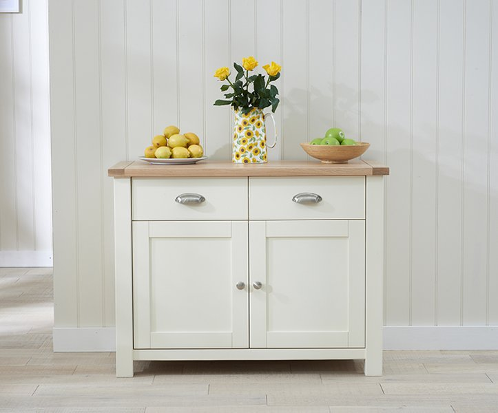 Photo of Somerset 2 door 2 drawer oak and cream sideboard