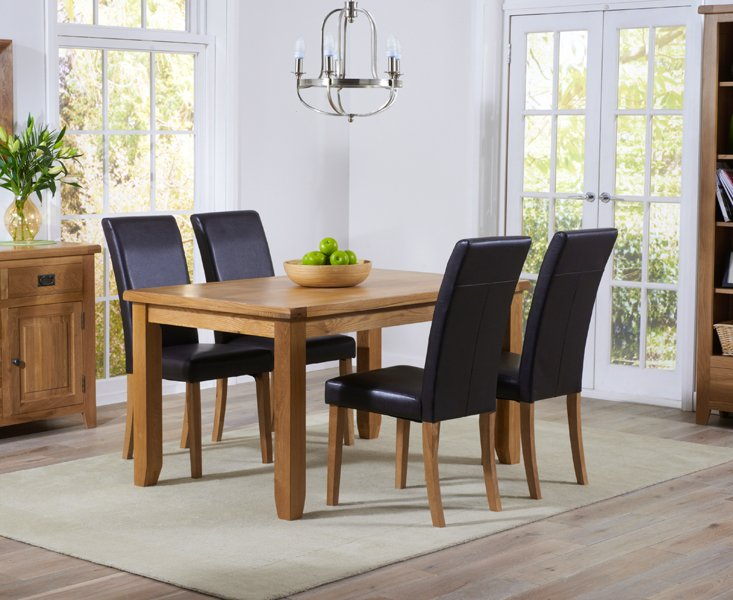 Photo of Yateley 140cm oak dining table with albany chairs