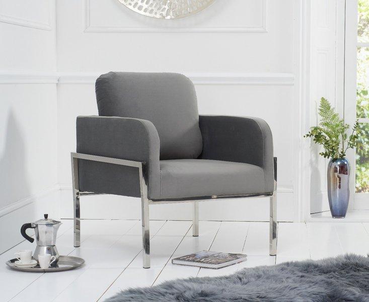 Photo of Bennett grey velvet accent chair