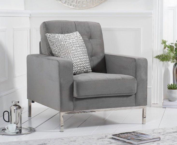 Photo of Lydia grey velvet armchair