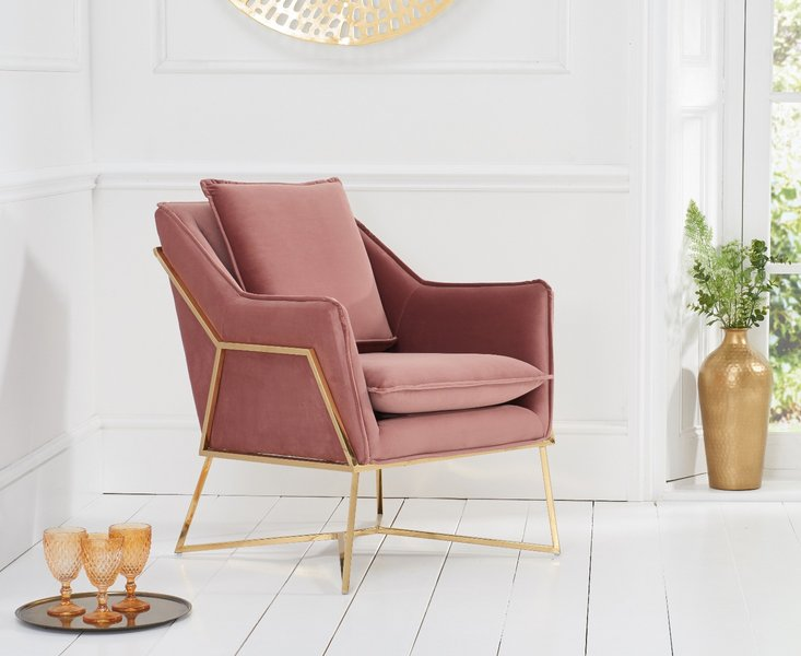 Photo of London blush velvet accent chair