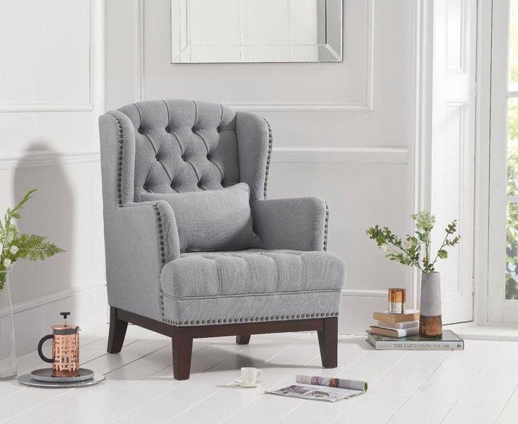 Photo of Baldwin grey linen accent chair
