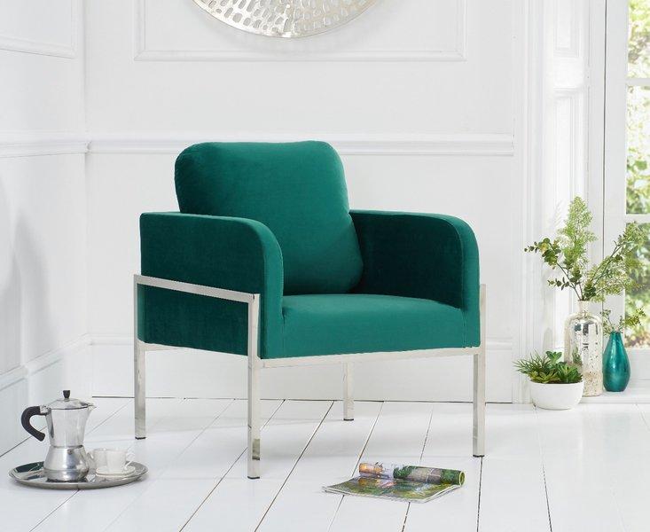Photo of Bennett green velvet accent chair