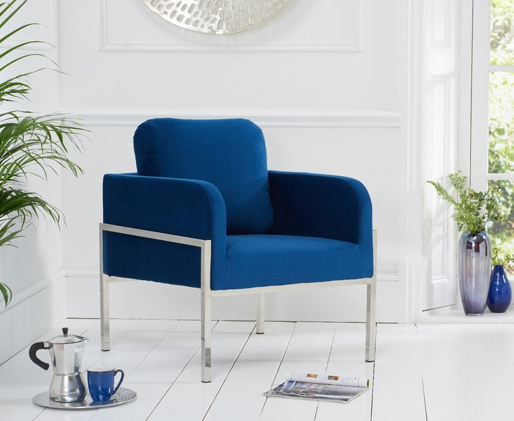 Photo of Bennett blue velvet accent chair