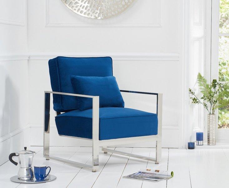 Photo of Sloane blue velvet accent chair