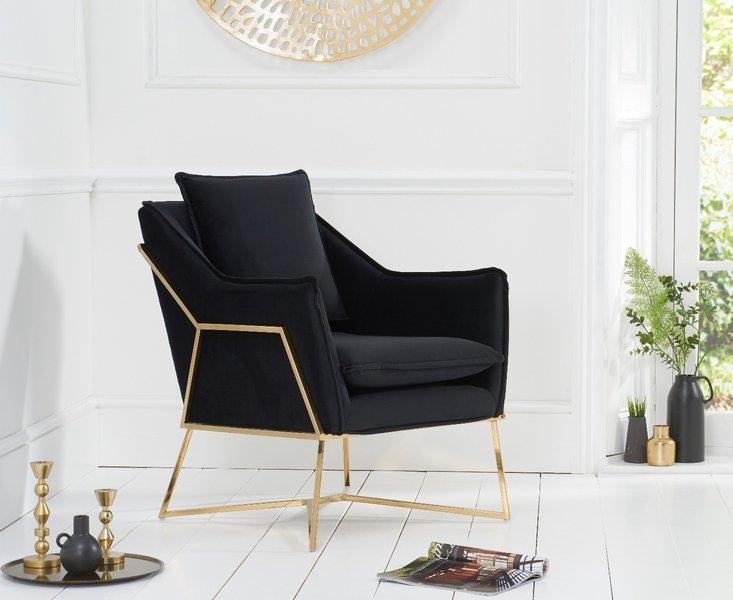 Photo of London black velvet accent chair