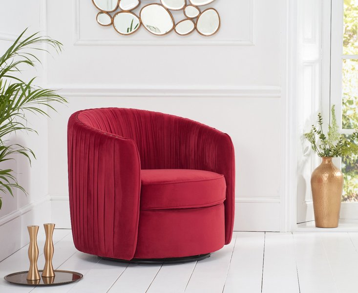 Photo of Sarah red velvet swivel chair