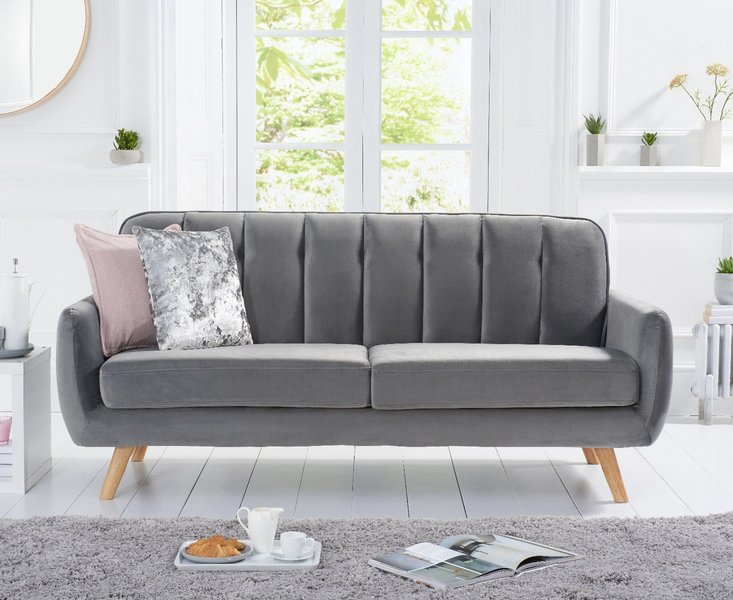 Photo of Camila grey velvet 3 seater sofa