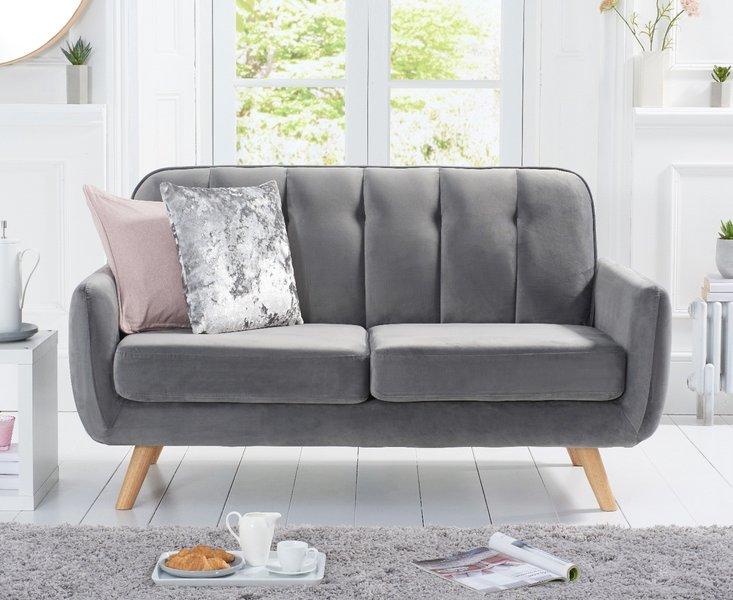 Photo of Camila grey velvet 2 seater sofa