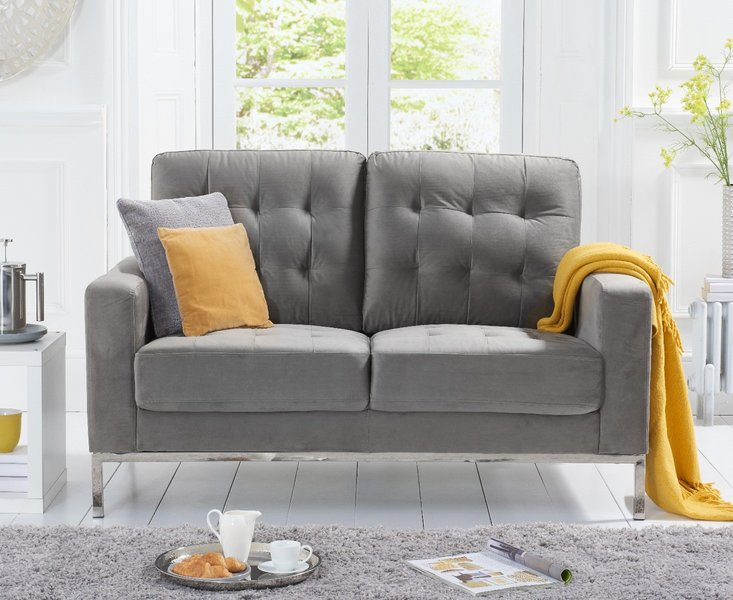 Photo of Lydia grey velvet 2 seater sofa