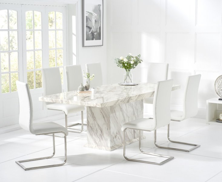 Photo of Calacatta 220cm marble-effect dining table with malaga chairs