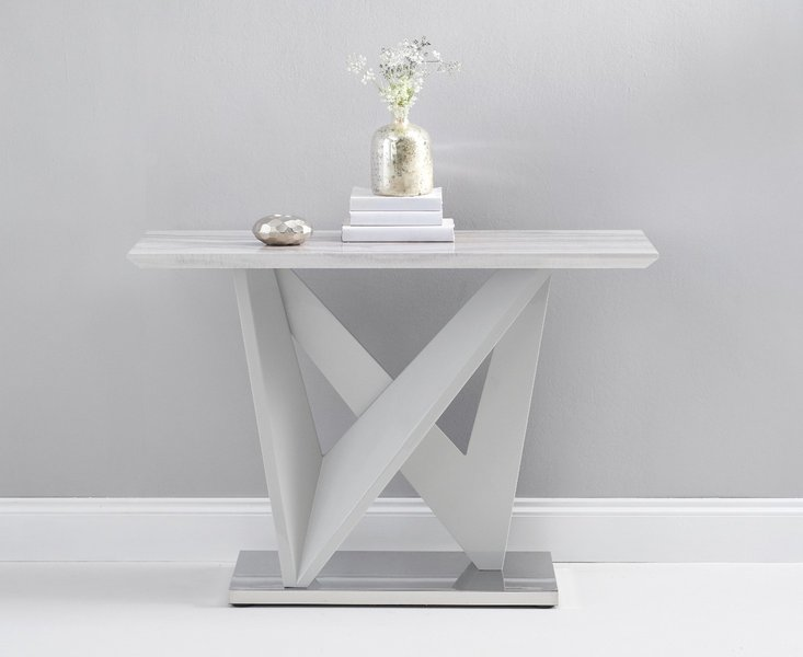 Photo of Reims marble effect carrera light grey console table