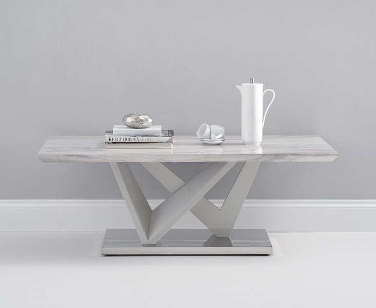 Photo of Reims marble effect carrera light grey coffee table