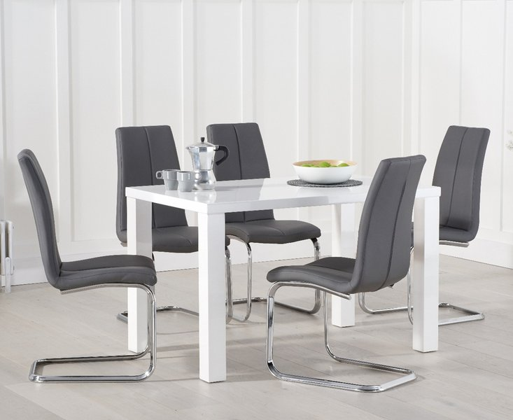 Photo of Atlanta 120cm white high gloss dining table with tarin chairs