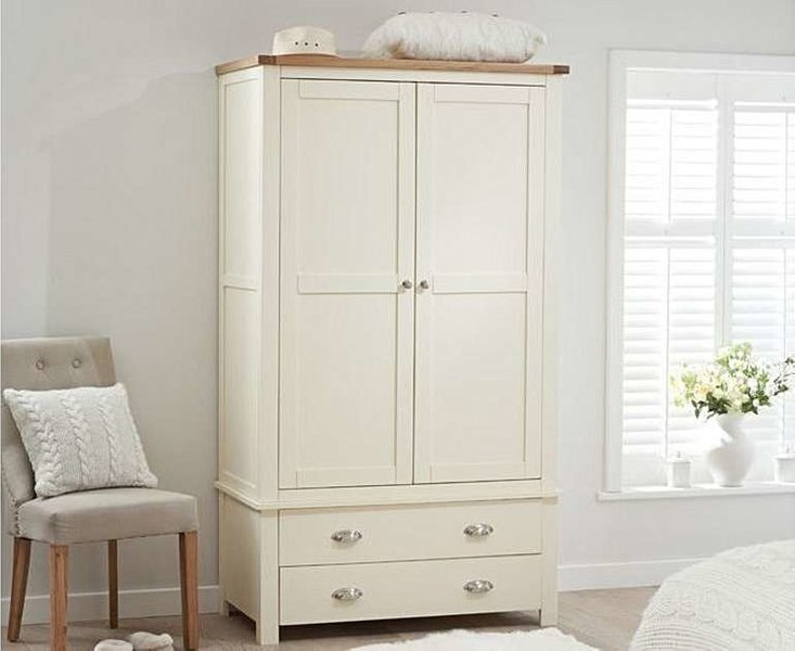 Photo of Ex-display somerset oak and cream two door two drawer wardrobe