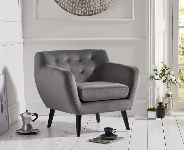 Photo of Tim grey velvet accent chair