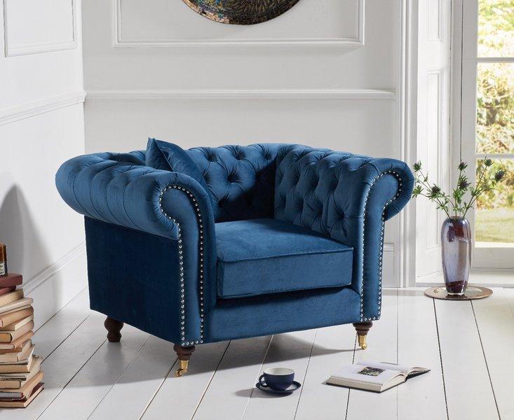 Photo of Carrara chesterfield blue velvet armchair