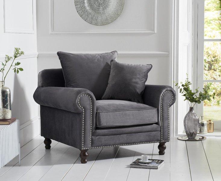 Photo of Eliza grey velvet armchair
