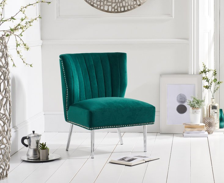 Photo of Lena green velvet accent chair