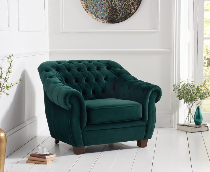 Photo of Lilly chesterfield green plush fabric armchair